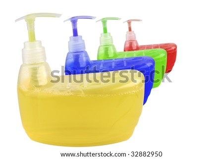 colorful clean soup isolated over white background - stock photo