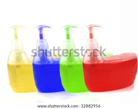colorful clean soup isolated over white background