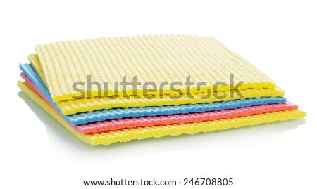 Colorful Cleaning kitchen sponges isolated on white background - stock photo