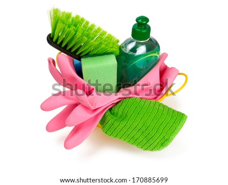 colorful cleaning set isolated on white - stock photo
