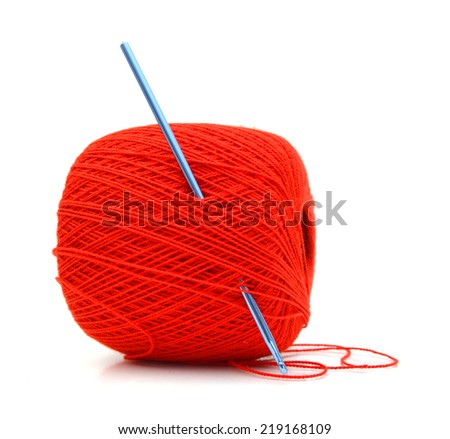 Colorful clew with crochet hook, isolated on white