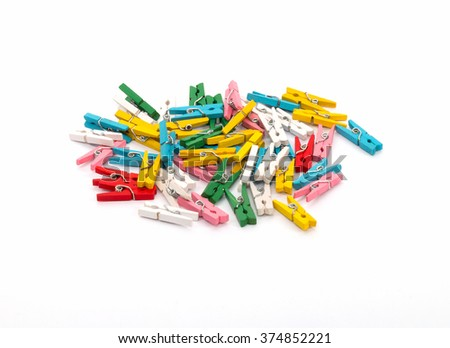 Colorful clips, isolated - stock photo