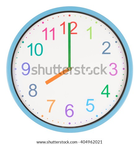 Colorful clock showing eight o'clock isolated on white background - stock photo