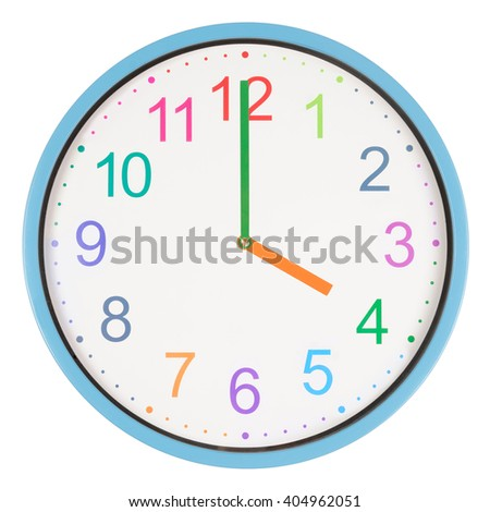Colorful clock showing four o'clock isolated on white background - stock photo