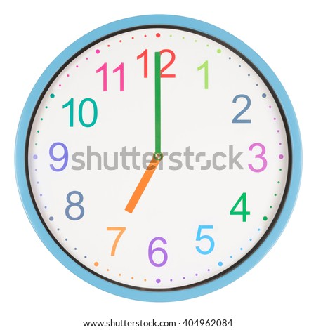 colorful clock showing seven oclock isolated stock photo royalty rh shutterstock com Funny Clock Face Clip Art Cartoon Digital Clock