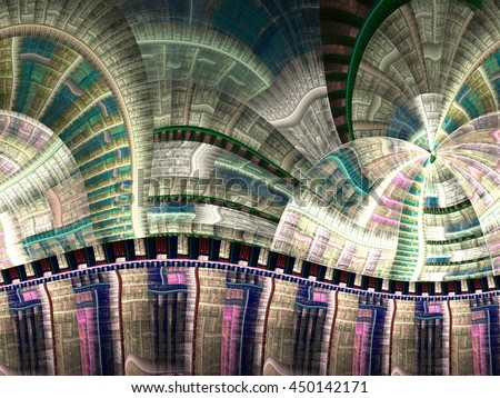 Colorful clockwork industrial fractal texture, digital artwork for creative graphic design