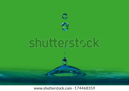 Colorful close up water drop - stock photo