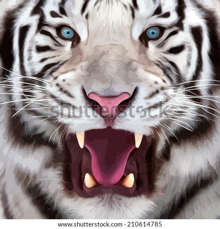 Colorful closeup portrait of a white bengal tiger with open chaps. Oil painting style. The biggest cat. Wild beauty of the most dangerous and mighty beast. Square illustration.