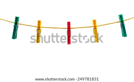 Colorful clothes pegs on a rope isolated on white background with clipping path - stock photo