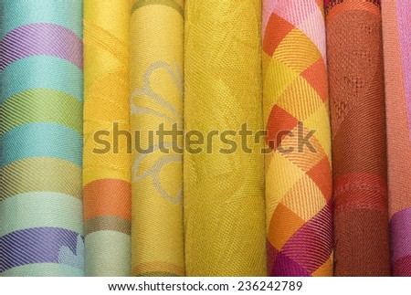 Colorful clothes. Textile background. - stock photo