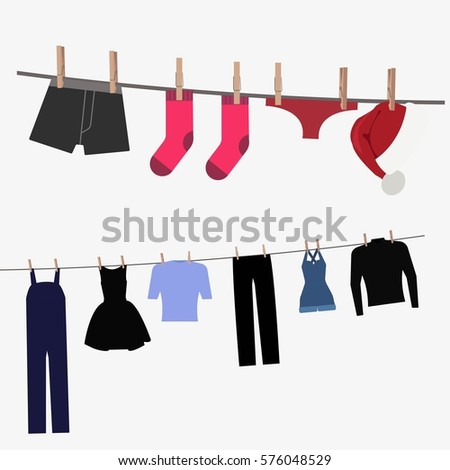 Colorful clothing hung by old wooden pegs. Underwear, trousers, dress, skirt, hat. Clothespins and sripes. Isolated on white background. Flat  stock illustration