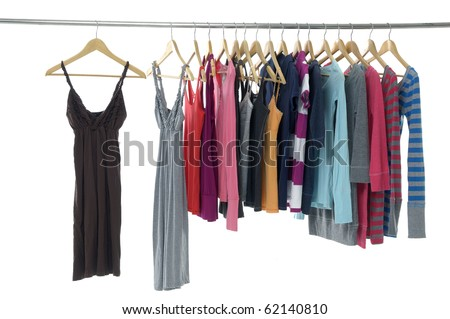 colorful clothing on hanger in a row