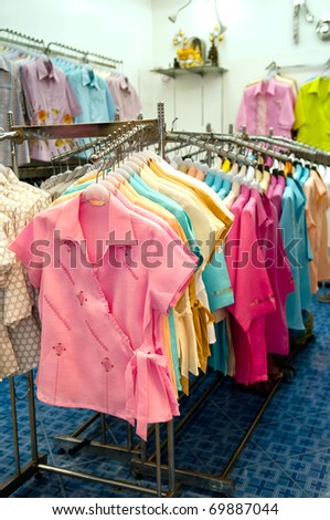 colorful cloths displayed at a local shop