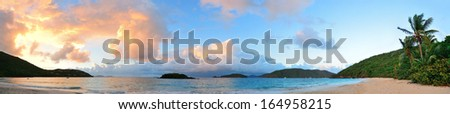 Colorful cloud at sunset at beach in St John, Virgin Island. - stock photo