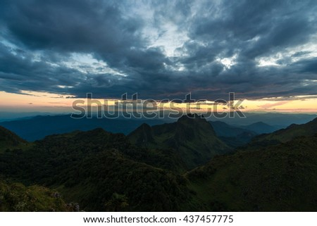 Colorful cloud view of mountains sunset summer landscape with peak of hills at Chiangmai, Thailand - stock photo