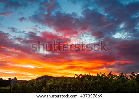 Colorful clouds at sunset. A spectrum of saturated colors in the sky. Blue, red, orange, yellow clouds. Sunset in a Napa Valley California vineyard. - stock photo