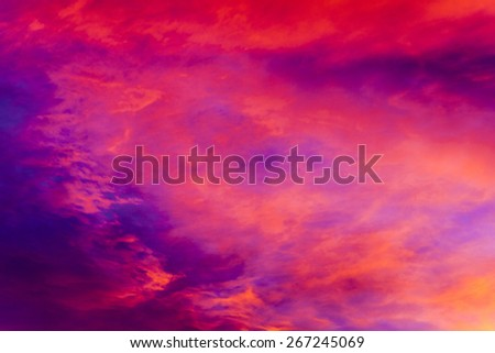 Colorful clouds on sunset sky. Natural background. - stock photo
