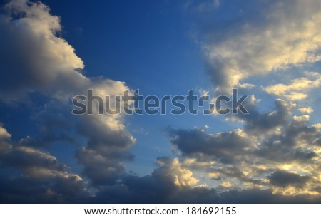Colorful Cloudscape  with sunlight