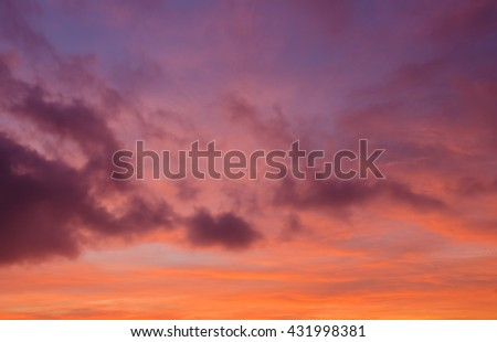 Colorful cloudy sky background, twilight and cloudy sky background - stock photo