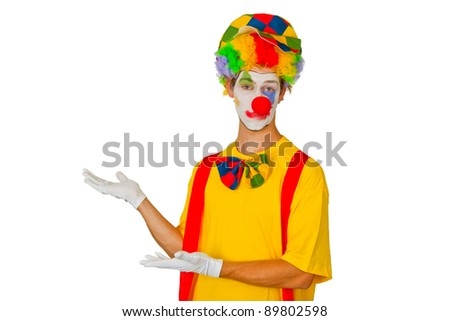Colorful Clown isolated on white background - stock photo