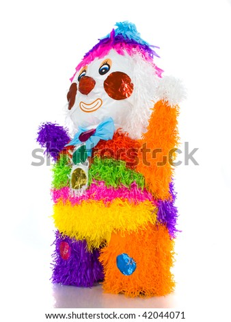 Colorful clown mexican pinata isolated in white background - stock photo