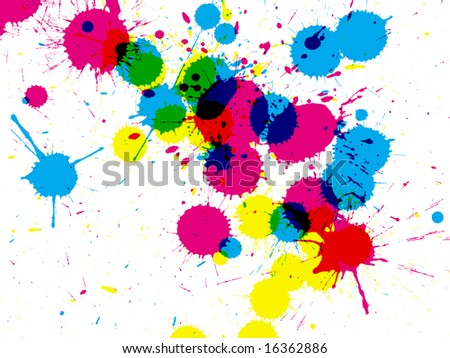 Colorful CMYK ink drops on white - stock photo