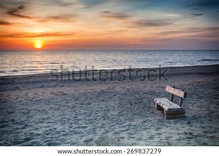 Colorful coastal landscape in famous Baltic resort village of Saulkrasti, Latvia - stock photo