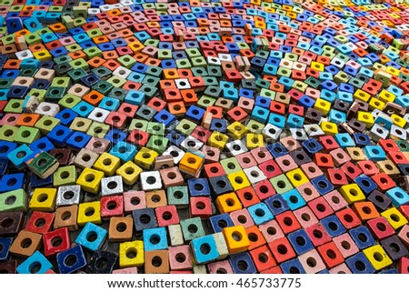 colorful coated square ceramic with hole arranged for background