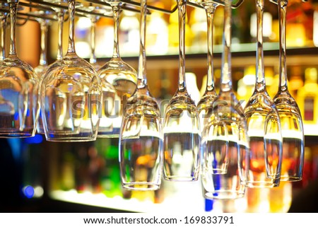 Colorful cocktail glasses in restaurant bar