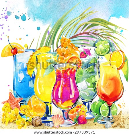 colorful cocktail. Hand drawn watercolor illustration of cocktail fruit and tropical leaves background - stock photo