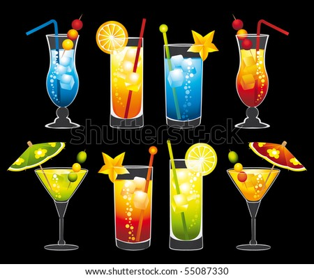 Colorful cocktails collection. Illustrations. - stock photo