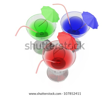 colorful cocktails isolated on white background. 3d render