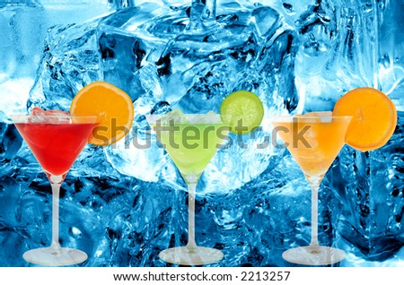 colorful cocktails with a ice cold background - stock photo