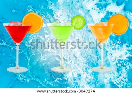 colorful cocktails with fresh water background - stock photo