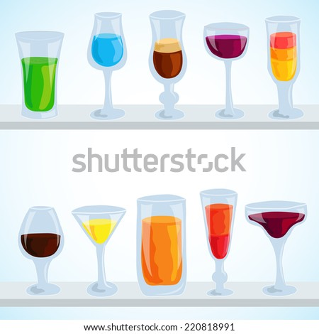 colorful coctail illustration background concept