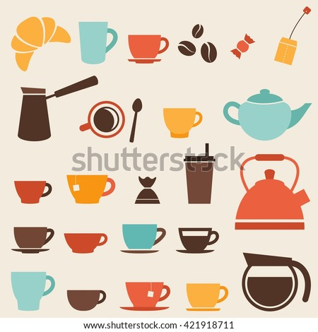 Colorful Coffee cup and Tea cup icon set. Raster version - stock photo