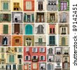 colorful collage made of antique windows in Italy - stock photo