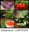 Colorful collage of fresh salad ingredients includes red onions, grape tomatoes, lettuce, baby greens, shredded carrots, spinach and cucumbers. - stock photo