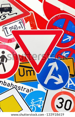 colorful collage of german traffic signs