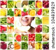 colorful collage of healthy food - stock photo