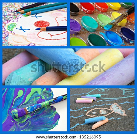Colorful collage of kids' artwork and supplies includes clown sketch with coloring pencils, watercolor paints, messy paintbrush, chalk, and sidewalk drawing. - stock photo