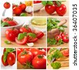 Colorful collage of ripe organic tomatoes - stock photo