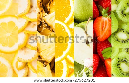 Colorful collage of vertical stripes with fresh nutritious fruits cut in slices or pieces as lemons, bananas, pineapple, Granny Smith apples, strawberries and kiwi, close-up - stock photo