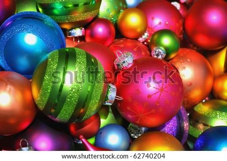 Colorful collection of Christmas Balls useful as a background pattern - stock photo