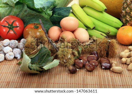 colorful collection of fruits and vegetables - stock photo