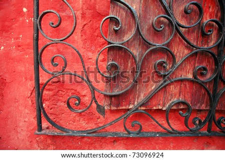 Colorful colonial architectural details, Arequipa Peru. - stock photo