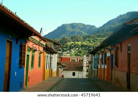 Colorful colonial houses in Candelaria neighborhood Cartagena Colombia - stock photo
