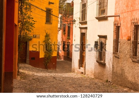 Colorful colonial Mexican side-street - stock photo