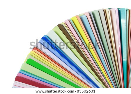 colorful color guide on white background with copy space for your design - stock photo