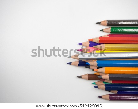 Colorful color pencil on white background